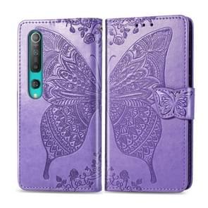Voor Xiaomi 10 Pro Butterfly Love Flower Embossed Horizontale Flip Lederen Case met beugel / kaartslot / Portemonnee / Lanyard (Licht Paars)