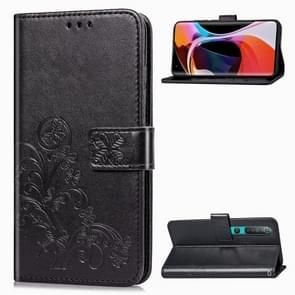 Voor Xiaomi Mi 10 Pro Lucky Clover Pressed Flowers Pattern Leather Case met Holder & Card Slots & Wallet & Hand Strap(Zwart)