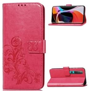 Voor Xiaomi Mi 10 Pro Lucky Clover Pressed Flowers Pattern Leather Case met Holder & Card Slots & Wallet & Hand Strap(Rose)