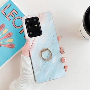 Voor Huawei P40 TPU Smooth Marble met Ring Metal Rhinestone Bracket Mobiele Telefoon Beschermhoes (Blue Q7)