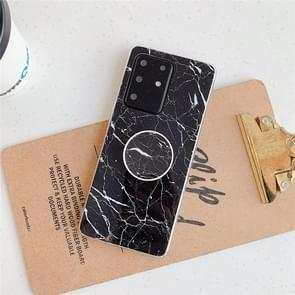 Voor Huawei P40 TPU Smooth Marble Patroon met opvouwbare beugel mobiele telefoon Cose (Zwarte A30)