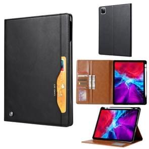 Voor iPad Pro 12.9 (2020) Kneed huidtextuur horizontale flip lederen behuizing met fotoframe & houder & kaartsleuven & wallet(black)