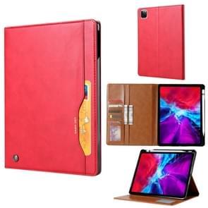 Voor iPad Pro 12.9 (2020) Kneed huidtextuur Horizontale flip lederen behuizing met fotoframe & houder & kaartsleuven & portemonnee (rood)
