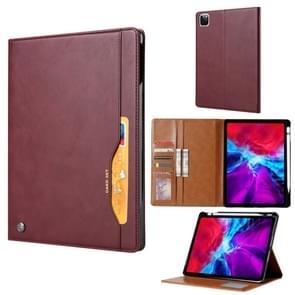 Voor iPad Pro 12.9 (2020) Kneed huidtextuur Horizontale flip lederen behuizing met fotoframe & houder & kaartsleuven & portemonnee(Wijnrood)