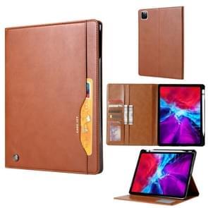 Voor iPad Pro 12.9 (2020) Kneed huidtextuur horizontale flip lederen behuizing met fotoframe & houder & kaartsleuven & wallet(brown)