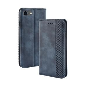 Voor iPhone SE (2020) Magnetic Buckle Retro Crazy Horse Texture Horizontal Flip Leather Case   with Holder & Card Slots & Photo Frame(Blue)