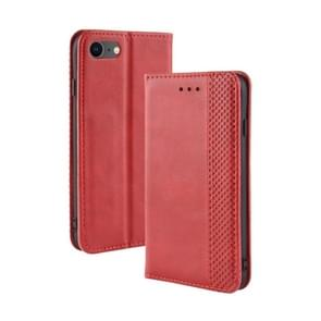 Voor iPhone SE (2020) Magnetic Buckle Retro Crazy Horse Texture Horizontal Flip Leather Case   with Holder & Card Slots & Photo Frame(Red)