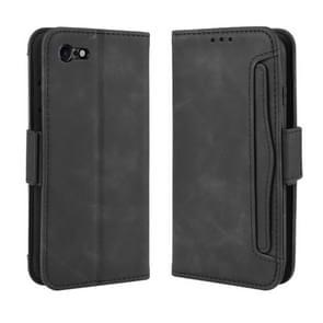 Voor iPhone SE (2020) Wallet Style Skin Feel Calf Patroon Lederen Hoes  met aparte kaart sleuf (Zwart)