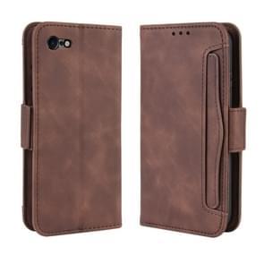 Voor iPhone SE (2020) Wallet Style Skin Feel Calf Patroon Lederen Case  met aparte kaart sleuf (Bruin)