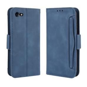 Voor iPhone SE (2020) Wallet Style Skin Feel Calf Patroon Lederen Case  met aparte kaart sleuf (Blauw)
