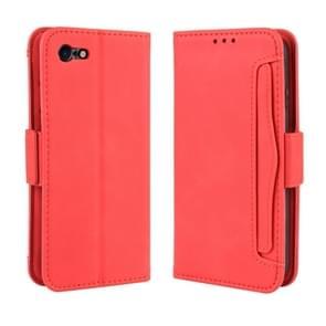 Voor iPhone SE (2020) Wallet Style Skin Feel Calf Patroon Lederen Case  met aparte kaart sleuf (Rood)
