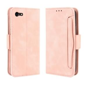 Voor iPhone SE (2020) Wallet Style Skin Feel Calf Patroon Lederen Case  met aparte kaart slot (Roze)