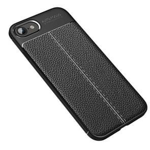 Voor iPhone SE 2020 Litchi Texture TPU Shockproof Case(Zwart)