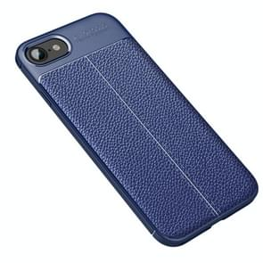 Voor iPhone SE 2020 Litchi Texture TPU Shockproof Case (Navy Blue)