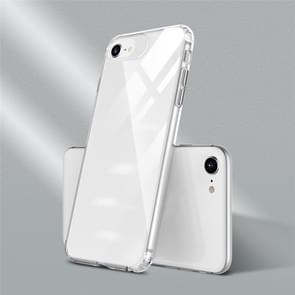 Voor iPhone SE 2020 Color Button Clear Full Coverage Shockproof TPU Case(White)