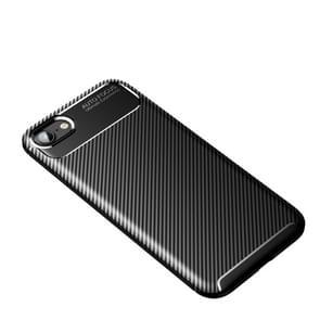Voor iPhone SE 2020 Carbon Fiber Texture Shockproof TPU Case(Zwart)