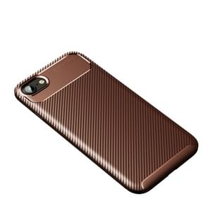 Voor iPhone SE 2020 Carbon Fiber Texture Shockproof TPU Case(Brown)