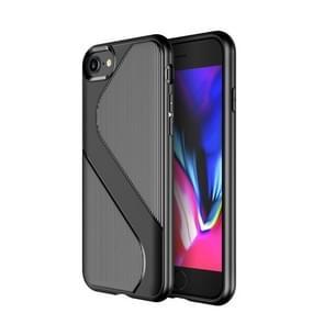 Voor iPhone SE 2020 S-vormige soft TPU beschermhoes (zwart)