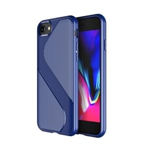 Voor iPhone SE 2020 S-vormige soft TPU beschermhoes (blauw)