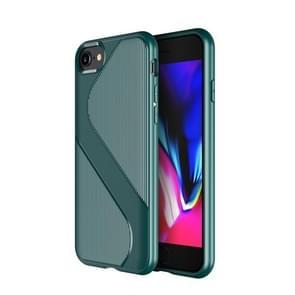 Voor iPhone SE 2020 S-vormige soft TPU beschermhoes(groen)