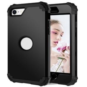 Voor iPhone SE 2020 Siliconen + PC Driedelige Anti-drop Mobile Phone Protection Bback Cover (Zwart)