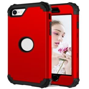 Voor iPhone SE 2020 Siliconen + PC Driedelige Anti-drop Mobile Phone Protection Bback Cover (Rood)