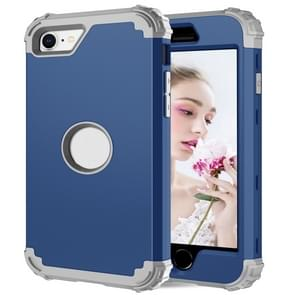 Voor iPhone SE 2020 Siliconen + PC Driedelige Anti-drop Mobile Phone Protection Bback Cover (Blauw)