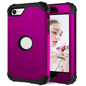 Voor iPhone SE 2020 Siliconen + PC Driedelige Anti-drop Mobile Phone Protection Bback Cover (Paars)