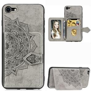 Voor iPhone SE (2020) Mandala Embossed Magnetic Cloth PU + TPU + PC Case with Holder & Card Slots & Wallet & Photo Frame & Strap(Gray)