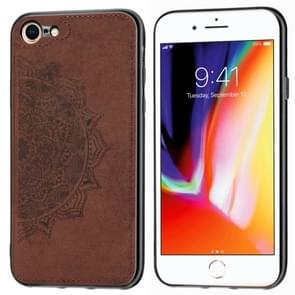 Voor iPhone SE (2020) Mandala Embossed Cloth Cover PC + TPU Mobile Phone Case with Magnetic Function and Hand Strap(Brown)