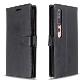 Voor xiaomi 10 Crazy Horse Texture Horizontal Flip Leather Case met Holder & Card Slots & Wallet & Photo Frame(BLACK)