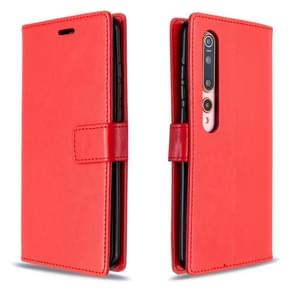 Voor xiaomi 10 Crazy Horse Texture Horizontal Flip Leather Case met Holder & Card Slots & Wallet & Photo Frame(Red)