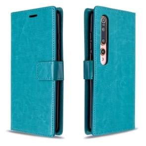 Voor xiaomi 10 Crazy Horse Texture Horizontal Flip Leather Case met Holder & Card Slots & Wallet & Photo Frame(Blue)