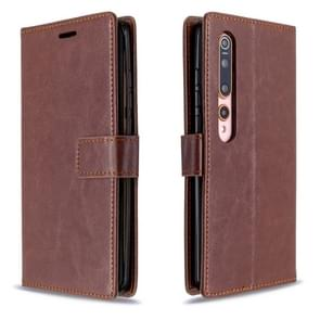 Voor xiaomi 10 Crazy Horse Texture Horizontal Flip Leather Case met Holder & Card Slots & Wallet & Photo Frame(Brown)
