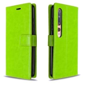 Voor xiaomi 10 Crazy Horse Texture Horizontal Flip Leather Case met Holder & Card Slots & Wallet & Photo Frame(Greed)
