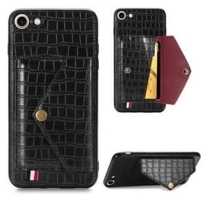 Voor iPhone SE 2020 Crocodile Pattern Envelope Card Telefoonhoes met magneet en beugel functie (zwart)