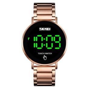 SKMEI 1550 Eenvoudige en stijlvolle LED Touch Screen Mannen horloge waterdicht roestvrij staal met elektronisch horloge (Rose Gold)