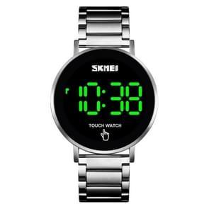 SKMEI 1550 Eenvoudige en stijlvolle LED Touch Screen Mannen Horloge Waterdicht roestvrij staal met elektronisch horloge (zilver)