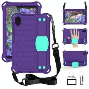 Voor Galaxy Tab A 8.4(2020) T307 Honeycomb Design EVA + PC Material Four Corner Anti Falling Flat Protective Shell With Strap (Purple+Aqua)