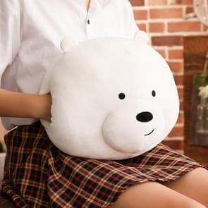 Cute Cartoon Bare Bears Plush Pillow Stuffed Bear Panda Hand Warmer Cushion, Size: 35cm*30cm, Color:Polar  Bear