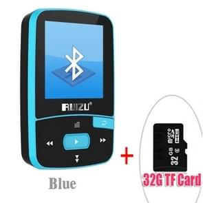 New Arrival Original RUIZU X50 Sport Bluetooth MP3 Player 8GB Clip Mini with Screen Support FM,Recording,E-Book,Clock,Pedometer(Blue)