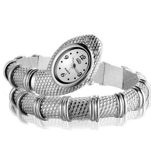 2 PC'S Snake vorm armband Diamonds-plated quartz horloge (zilver)