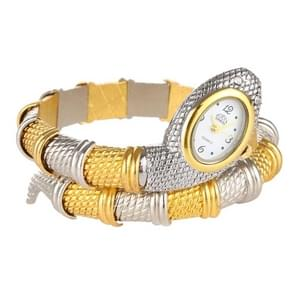 2 PCS Snake Shape Bracelet Diamonds-plated Quartz Watch (White Dial Interval Gold)