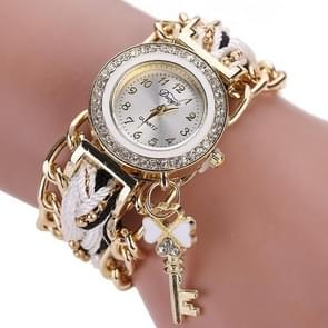 Women Round Dial Diamond Braided Hand Strap Quartz Watch with Key Pendant(White)