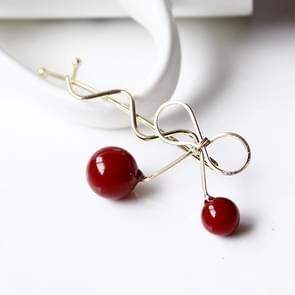 Sweet Fashion Design Romantic Women Cherry Shaped Bow Hairpin Elegant Twist Hair Clip Headdress(Gold)