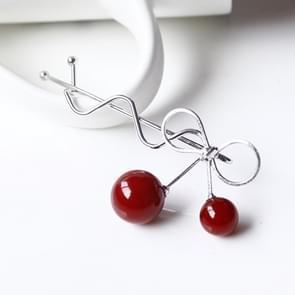 Sweet Fashion Design Romantic Women Cherry Shaped Bow Hairpin Elegant Twist Hair Clip Headdress(Silver)