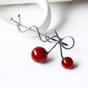 Sweet Fashion Design Romantic Women Cherry Shaped Bow Hairpin Elegant Twist Hair Clip Headdress(Black)