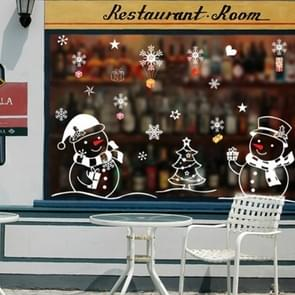 2 PCS Snowman Christmas Glass Window Removable Sticker Christmas Decoration