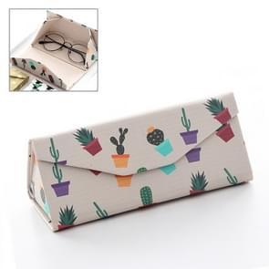 Creatieve schattige gestreepte bril geval PU Driehoek vouwen handgemaakte doos  willekeurige stijl levering
