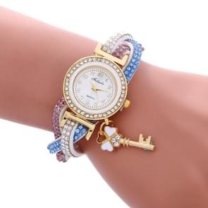 FULAIDA 3 PCS Ladies Padlock Multicolor Bracelet Quartz Watch with Diamond(White)